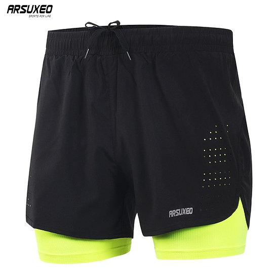 ARSUXEO Men's Running Shorts Outdoor Sports Training Exercise Jogging Gym