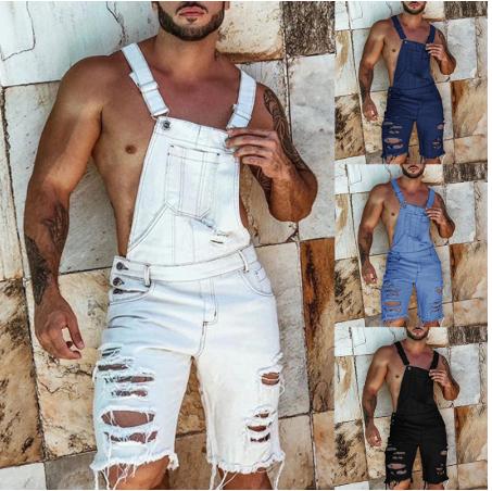 Puimentiua 2020 Fashion Plus Size Summer Men's Overalls Solid Color Ripped Denim