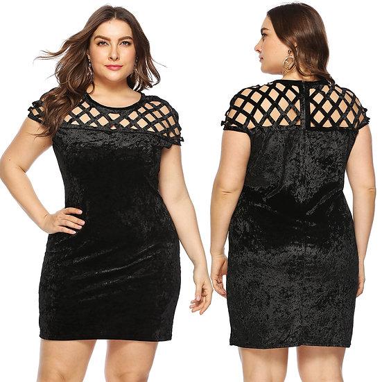Plus Size Women's Clothing Round Neck Short Sleeve Dress Elegant Hollow Out Dres