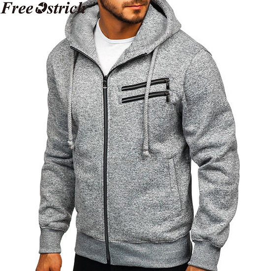 Men Sports Casual Wear Zipper Pocket Fashion Solid Color Tide Jacquard Hoodies