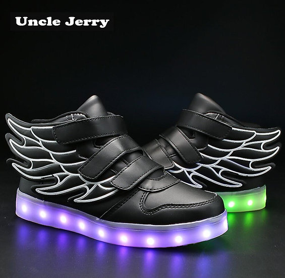 UncleJerry Kids Light Up Shoes With Wing Children Led Shoes Boys Girls Glowing