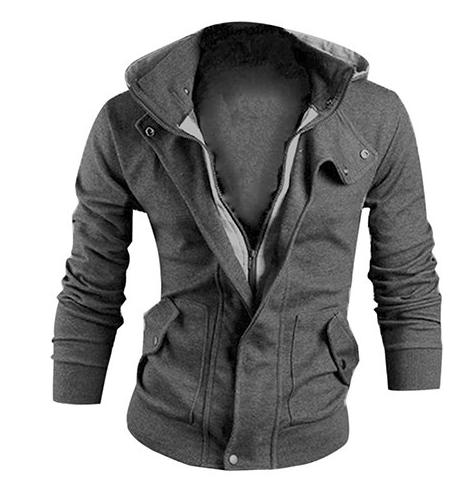 Men's Fashion Winter Slim Hoodie Warm Hooded Sweatshirt Coat Jacket Outwear