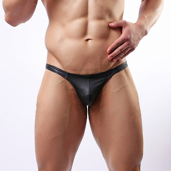 Sexy Gifts for Lingerie Men's Underwear Faux Leather Black G-String Thongs Under