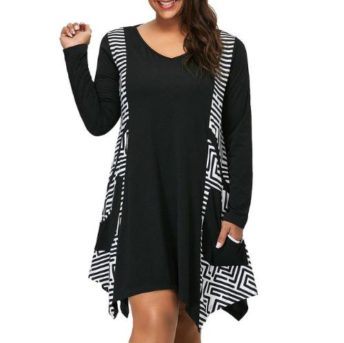 JAYCOSIN Dress Women Plus Size Dresses For Women 4xl 5x Large Size Striped Print
