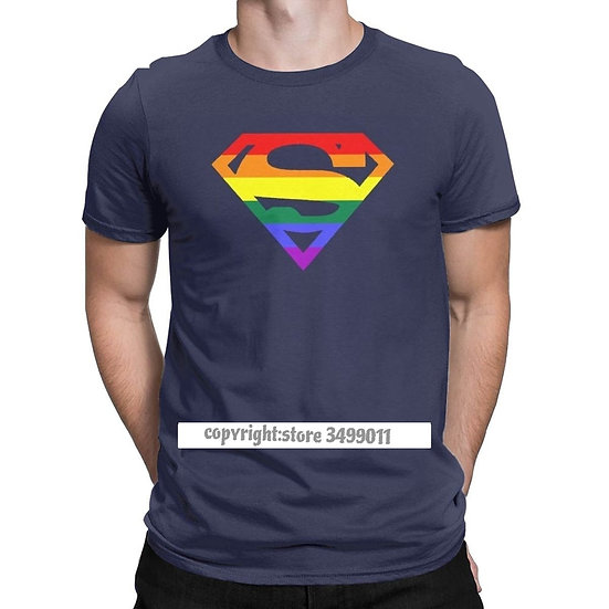 Cool Super Queer Tops T Shirt Men Round Neck Cotton T Shirt Rainbow Gay Lesbian