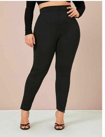 XL-4XL Plus Size Leggings Women Soft Stretch High Waist Leggings Female Black Gr