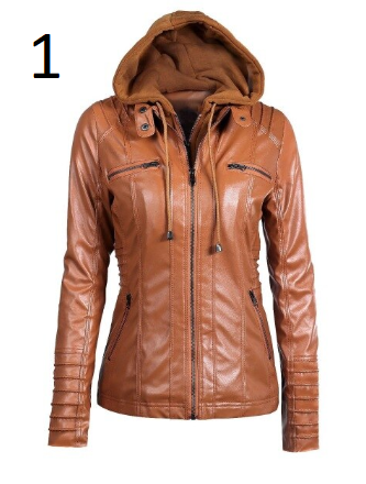 Fitaylor 2020 New Women Autumn Winter Hooded Faux Leather Jacket Slim Motorcycle
