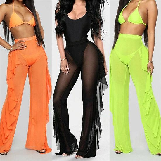 2021 Sexy Women See-Through Pants Bikini Cover Up Mesh Ruffle Bottoms Plus Size