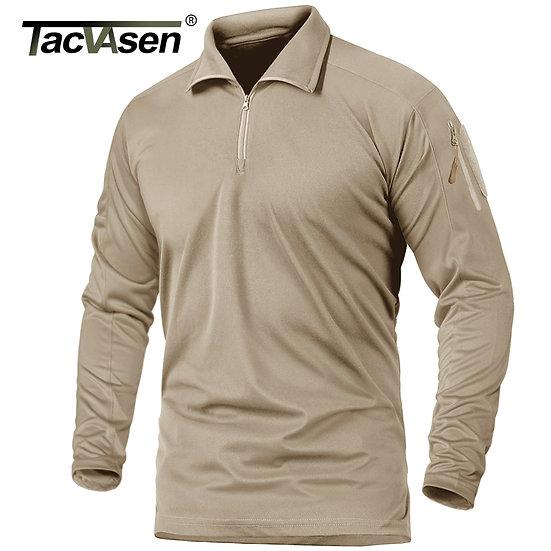 TACVASEN With Zipper Pocket Long Sleeve T-Shirts Men's Tactical T-Shirts 1/4 Zip