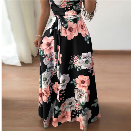 Women Summer Dress Casual Short Sleeve Long Dress Boho Floral Print Maxi Dr