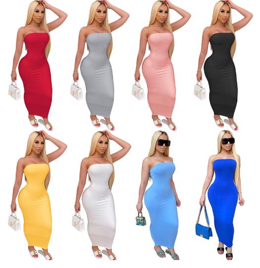 S-5XL 2020 Women Summer Long Maxi Dress Strapless Stretch Beach Bodycon Bohemian