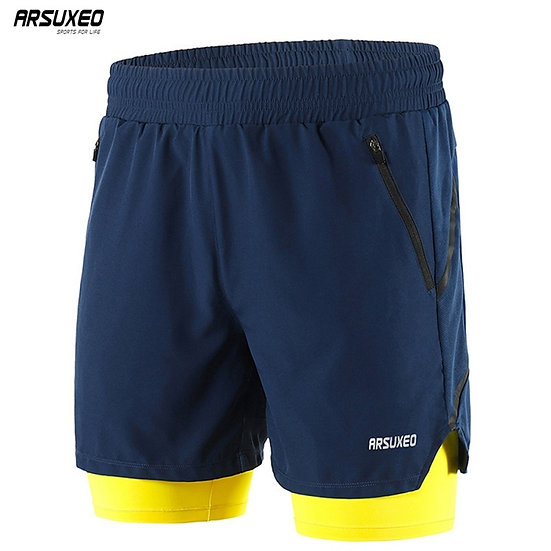"""ARSUXEO Men's 7"""" Running Shorts 2 in 1 Quick Dry Athletic Training Exercise Jog"""