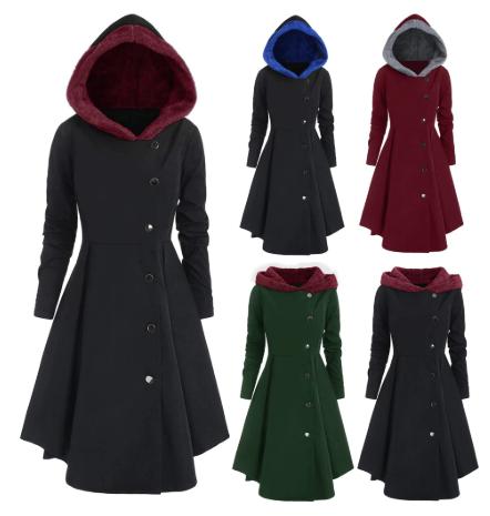 Women Hooded Coats Jackets 2women Plus Size Asymmetric Fleece Hooded Single Brea