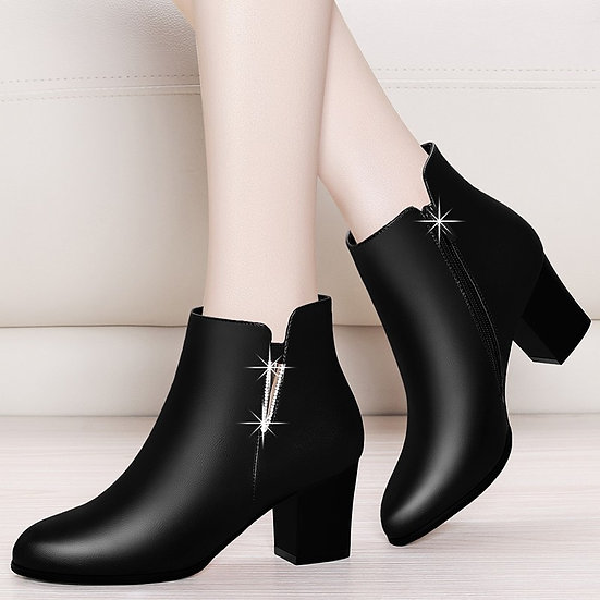 Women Chelsea Boots Winter Autumn Black Ankle Boots for Woman Thick Square High