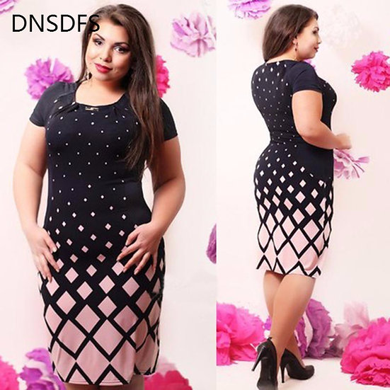 6XL Large Size Summer Straight Dress Ladies Big Size O Neck Casual Gradient