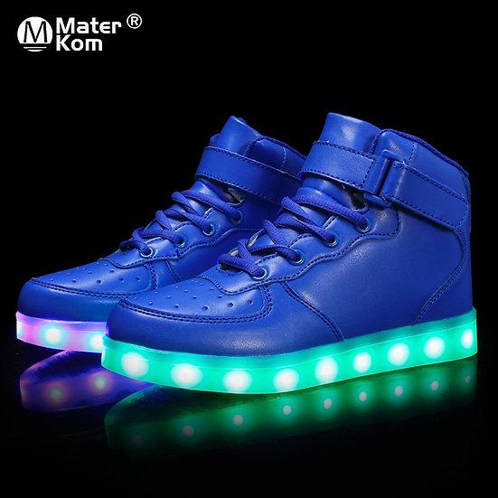 Size 25-37 Kids Led Usb Charging Glowing Sneakers Children Hook Loop Fashion