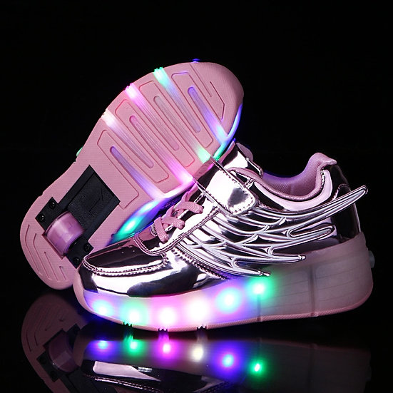 RISRICH Kids LED Light Roller Shoes for Boys Girl Luminous Light Up Skate