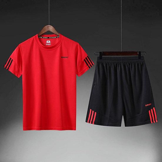 New Men's Sportswear 2020 Summer Two-Piece Men's Shored T-Shirt Top Shorts Suit