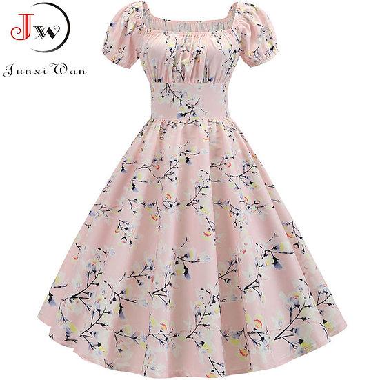 Plus Size Summer Dress Women Puff Sleeve Swing Vintage Dresses Robe Femme