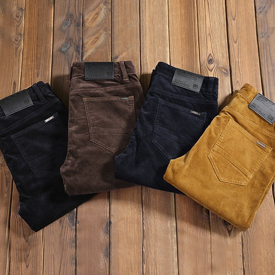 2020 New Autumn Men's Thick Corduroy Stretch Casual Pants Classic Style Khaki