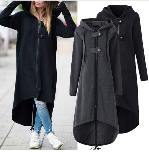 LOSSKY Fashion Long Sleeve Hooded Trench Coat 2018 Autumn Black Zipper Plus Size