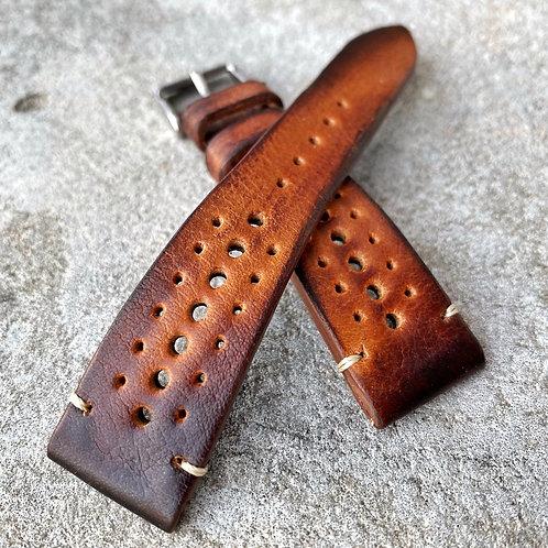 Bracelet rallye 20/16 mm cuir Us vintage