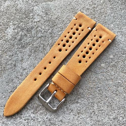 Bracelet rallye 20/16 mm cuir ambre nubuck