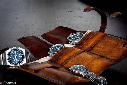 Marmotte 3 montres en cuir patiné