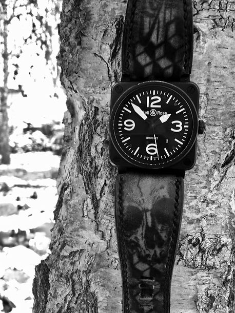 tattoo leather strap, BR Skull, custom leather, bracelet montre  cuir sur mesure