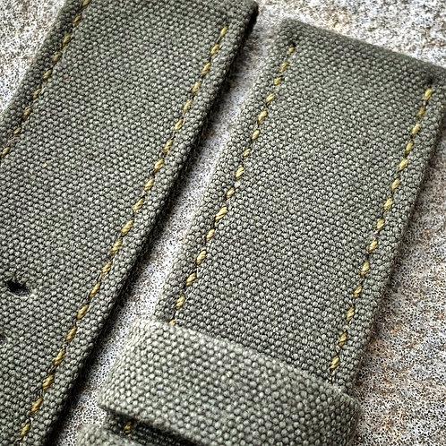 Bracelet 24/24 mm rolled canvas vintage kaki