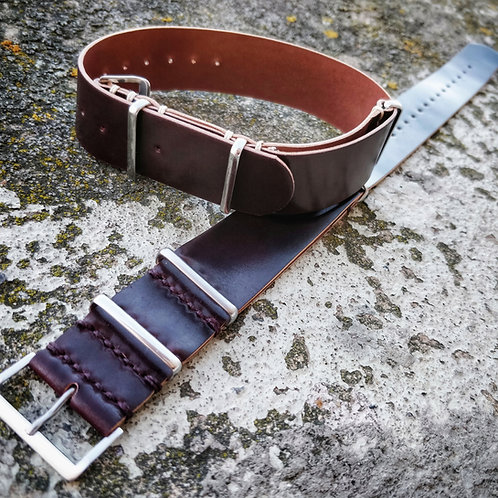 Bracelet nato cuir US Horween Shell Cordovan 22 mm