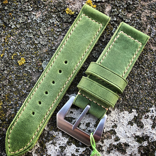 Bracelet cuir vert 24/24