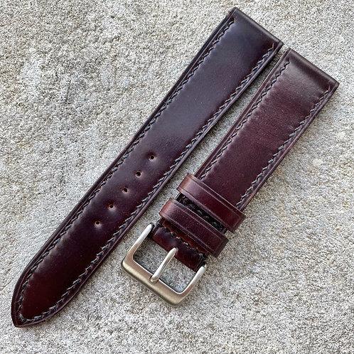 Bracelet 20/18 mm cuir us shell cordovan burgundy