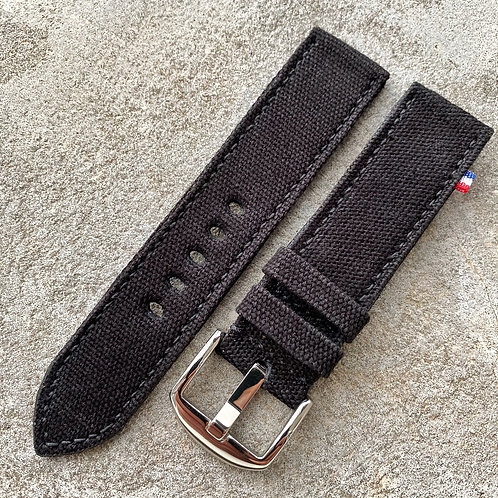 Bracelet rolled canvas noir 22/22