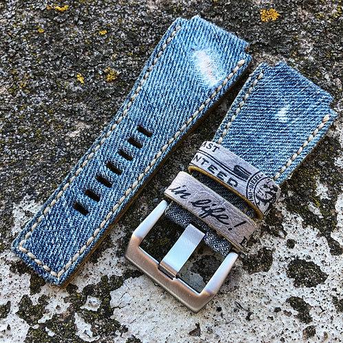 Bracelet Jeans/cuir tranches brutes