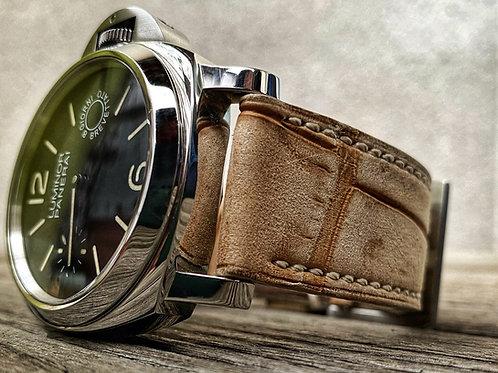 Bracelet cuir alligator Nubuck sable
