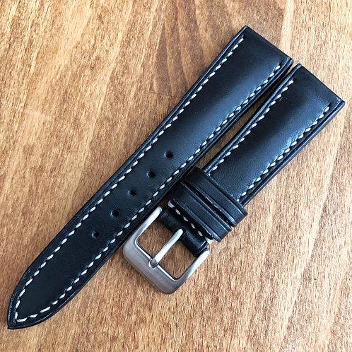 Bracelet 19/16 cuir veau noir, bombé