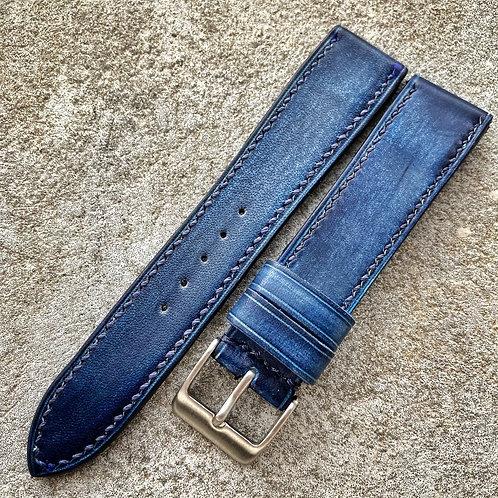 Bracelet 20/18 cuir veau patiné bleu jean's