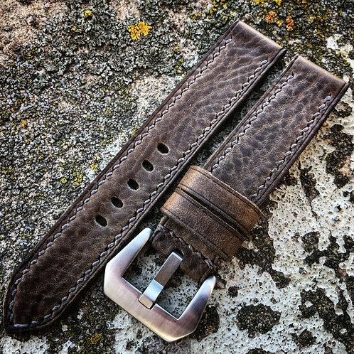 Bracelet cuir grainé US Brun/gris