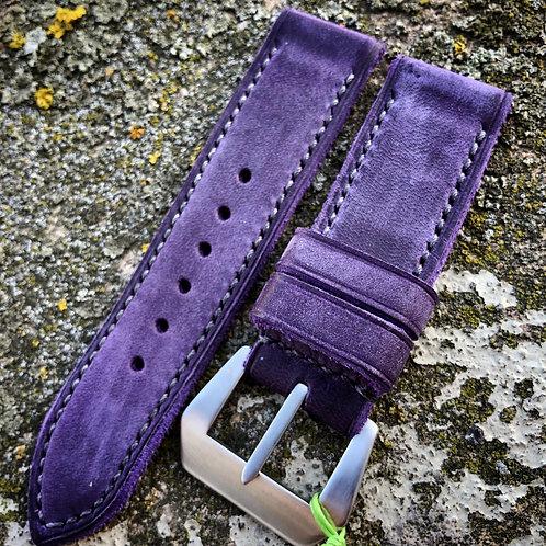 Bracelet cuir violet 24/24