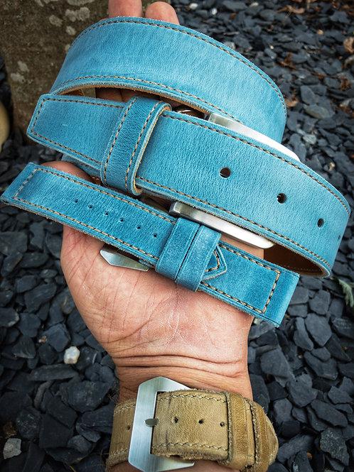 Ceinture cuir premiun US doublée, cousue main denim blue