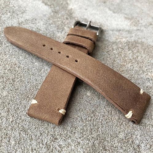 Bracelet 19/18 cuir veau taupe point d'arrêt