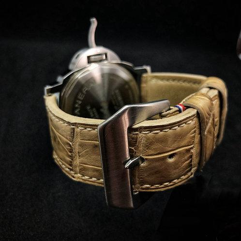 Bracelet cuir alligator patiné main
