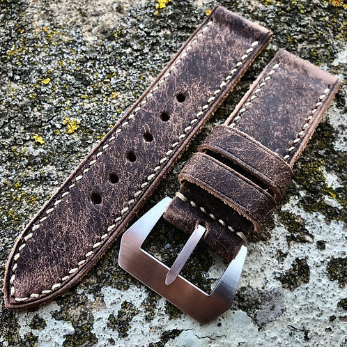 Bracelet cuir brun vieilli 24/24