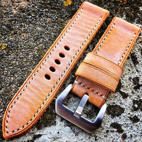 Bracelet cuir 24/24, patine abricot