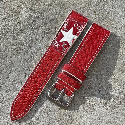 Bracelet 20/18 cuir & basket rouge