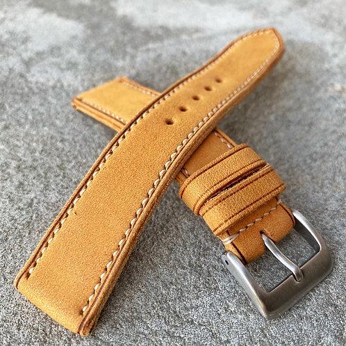 bracelet 19/18mm cuir ambre nubuck