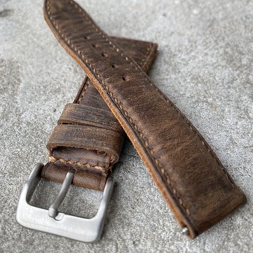 Bracelet 20/18 mm cuir us brown vintage small