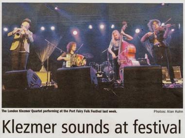 The London Klezmer Quartet appeared at Australia's Port Fairy Folk Festival in 2013