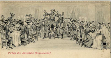Cartoon from early 1900s showing a badkhn (wedding jester), klezmorim, bridal couple & guests at a Jewish wedding